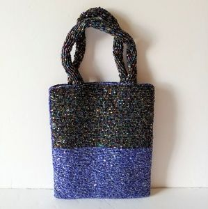 Vintage Blue Multi-colored Beaded Purse NWOT
